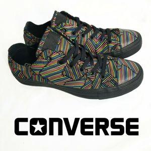 CONVERSE Black w Neon lines NEW condition m 8 w 10
